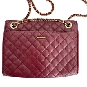 REBECCA MINKOFF Quilted Burgundy Crossbody Bag
